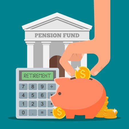 Pension fund concept vector illustration in flat style design. Finance investment and saving background with bank facade and money coins.