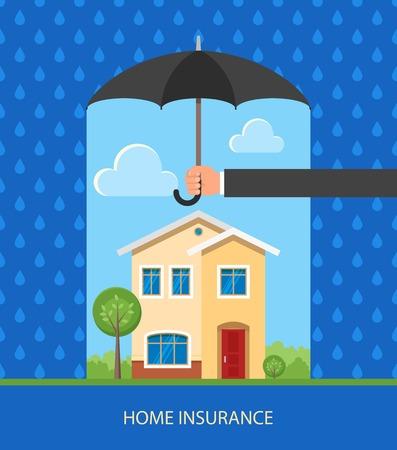 concetto di Home Insurance. Illustrazione vettoriale in design piatto. Mano che tiene ombrello per proteggere casa da pioggia Vettoriali
