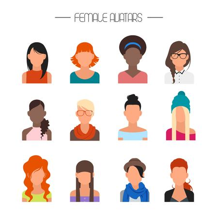 Female avatar icons vector set. People characters in flat style. Design elements isolated on background. Faces with different styles and nationalities. Иллюстрация