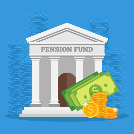 retire: Pension fund concept vector illustration in flat style design. Finance investment and saving background with bank facade and money coins.