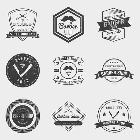 peluquero: barber�a logotipo conjunto de vectores en el estilo vintage. Elementos de dise�o, etiquetas, escudos y emblemas.