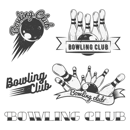 sport club: Bowling club logo vector set in vintage style. Design elements, labels, badges and emblems. Strike, balls, ninepins.