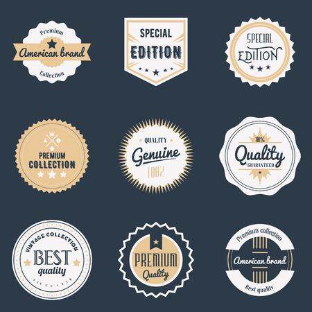 vintage badge: Premium quality labels set. Illustration