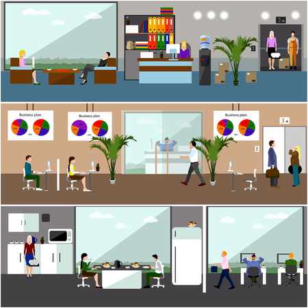 lunch room: Flat design of business people or office workers. People having break. Business presentation and meeting. Office interior.