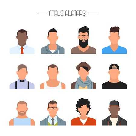 Male avatar icons vector set. People characters in flat style. Design elements isolated on white background. Faces with different styles and nationalities.