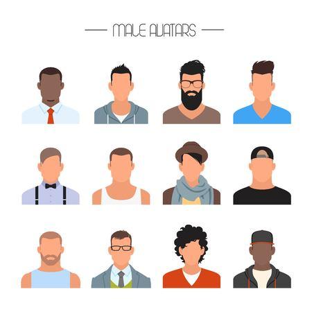 Maschio avatar icone insieme vettoriale. Persone personaggi in stile piatto. Elementi di design isolato su sfondo bianco. Facce con diversi stili e nazionalità.