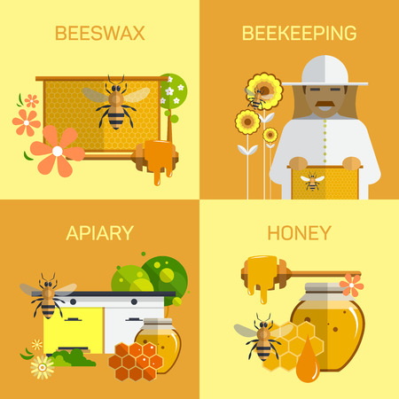 beeswax: Bee honey organic farm concept. Vector illustration in flat style design. Bee-keeper garden icons and design elements. Insect, cell, honeycomb and beeswax. Illustration