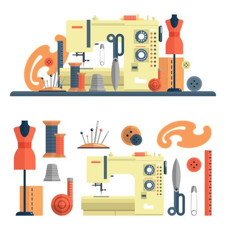 Naaimachine en toebehoren voor kleermakerij en handgemaakte mode. Vector set van pictogrammen en geïsoleerde designelementen in vlakke stijl. Naalden en mannequin.