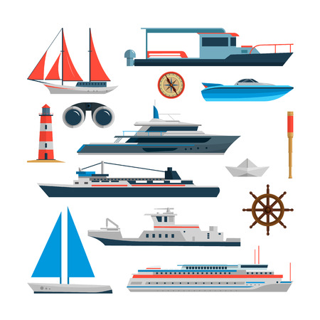 yacht: Sea vector set of ships, boats and yacht isolated on white background. Marine transport design elements and icons in flat style. Ocean travel concept.