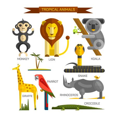 serpiente caricatura: animales tropicales conjunto de vectores en el diseño de estilo plano. aves de la selva, mamíferos y depredadores. Zoológico colección de iconos de dibujos animados. León, mono, cocodrilo, serpiente, koala. Vectores