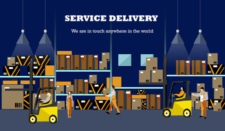 interior: Logistic and delivery service concept banner. Warehouse interior poster. Vector illustration in flat style design. Illustration