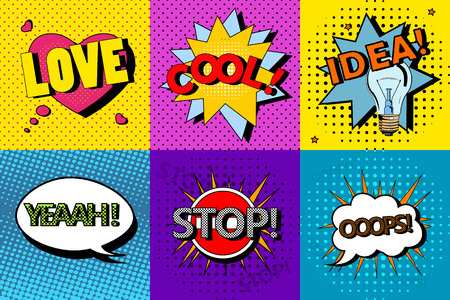 Vector set of comic speech bubbles in pop art style. Design elements, text clouds, message templates. Çizim