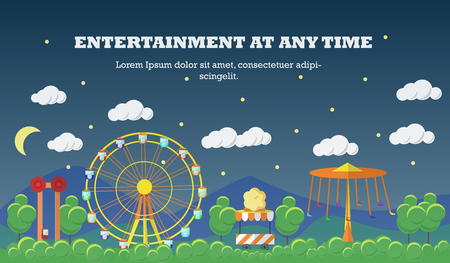thrill: Amusement park banner concept vector illustration in flat style design. City fair. Slides and swings, carousels, ferris wheel attraction.