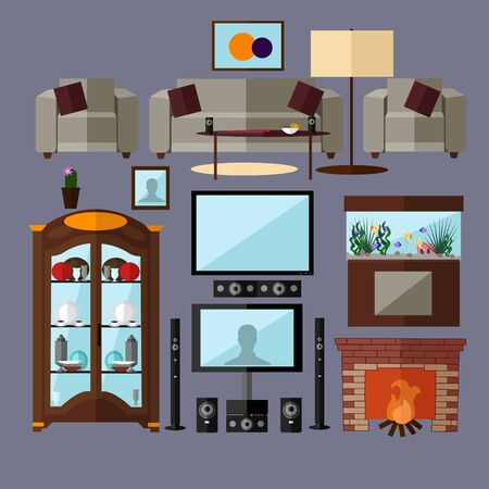 home related: Living room interior with furniture. Concept vector illustration in flat style. Home related isolated design elements and icons.