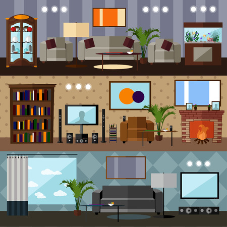 sideboard: Living room interior with furniture. Concept vector illustration in flat style