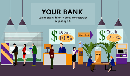 Horizontal vector banner with bank interiors. Finance and money concept. Flat cartoon illustration. Counter desk, cashier, consulting, currency exchange, ATM.