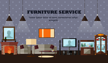 sideboard: Living room interior with furniture. Concept vector illustration in flat style. Home design banner.