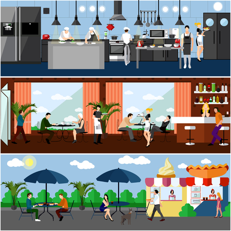 Vector banner with restaurant interiors. Kitchen, dining room and street cafe. Vector illustration in flat design. Illustration