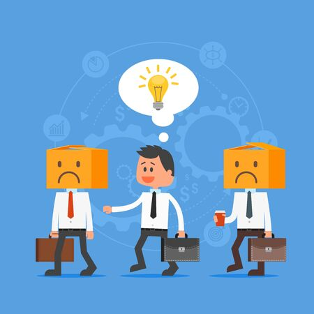 think out: Cartoon businessman with idea outstanding from crowd. Think out of the box. Vector concept illustration in flat style design. Creative ideas, gears, man characters, light bulb