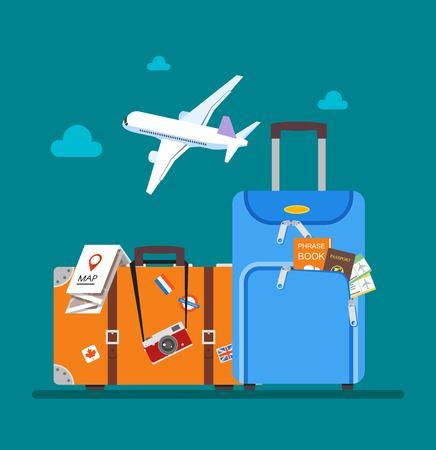 travel: Ilustração do vetor do conceito do curso no projeto do estilo plana. Avião voando acima turistas bagagem, mapa, passaporte, bilhetes e câmera fotográfica. Fundo das férias.