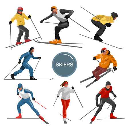 skiers: Vector set of skiers. People skiing design elements isolated on white background. Winter sport silhouettes in different poses. Illustration