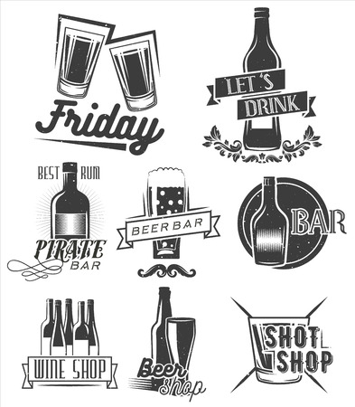 Friday is time to drink. Vector set of weekend party labels in vintage style. Badges, emblems and isolated logos for shop design. Shots, bottles and glasses