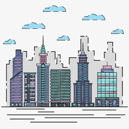 landscape architecture: City architecture skyline vector illustration in thin line flat design. Cityscape and urban landscape graphic concept. Buildings, skyscrapers, towers Illustration