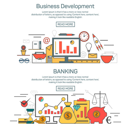 Business development and banking banner concepts in linear style design. Thin line vector illustration. Finance template and graphic layout.