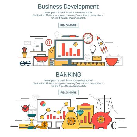 Lo sviluppo del business e concetti bandiera bancaria in stile design lineare. Thin illustrazione linea vettoriale. modello di Finanza e il layout grafico.