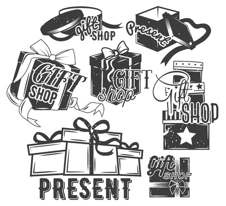 open present: Vector set of gift boxes with bows and ribbons in vintage style. Design elements, emblems, badges, logo. Open present.