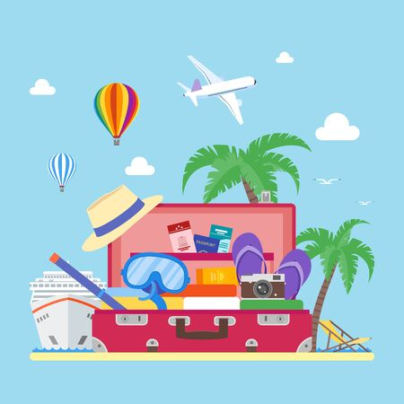 Travel concept vector illustration in flat style design. Airplane flying above tourists luggage, ship, palms, beach. Vacation and tourism background Stock Photo