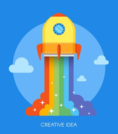 cartoon space: Space rocket launch concept. Vector illustration in flat style design. New business project start-up. Creative idea icon. Kids cartoon. Stock Photo