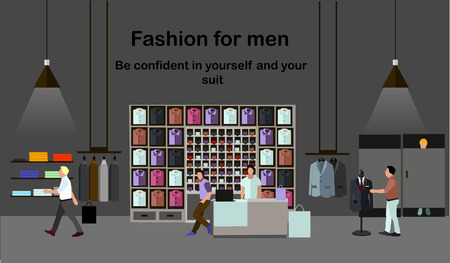 clothes shop: Men fashion concept. People shopping in a mall. Clothes shop Interior. Colorful vector illustration. Banner in flat style design.