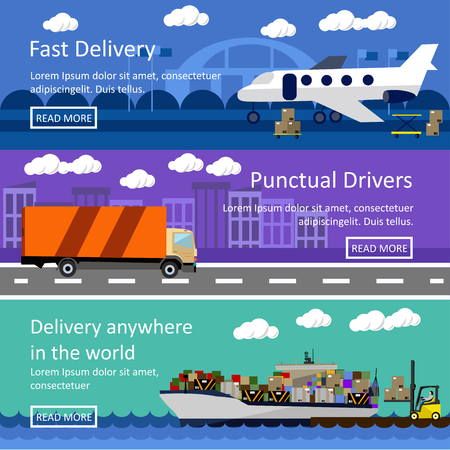 freight transportation: Set of transportation banners in flat style design. Logistics and delivery concept vector illustration. Air, trucks and ship transport.
