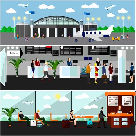 Aeroporto concetto di terminale illustrazione vettoriale. elementi di design e banner in stile piatto. biglietteria Air, il check-in contatori e sala d'attesa. Concetto di corsa. Vettoriali