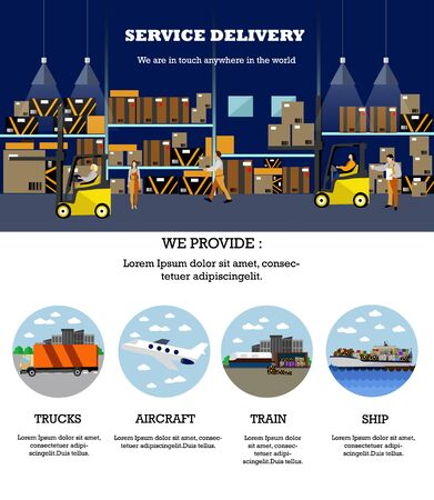 warehouse interior: Logistic and delivery service concept banner. Warehouse interior poster. Vector illustration in flat style design. Truck, air, ship and railway shipping.