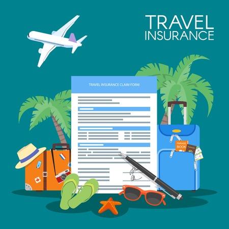 L'assicurazione di viaggio illustrazione forma di concetto di vettore. vacanza sfondo, aereo bagaglio, palme.