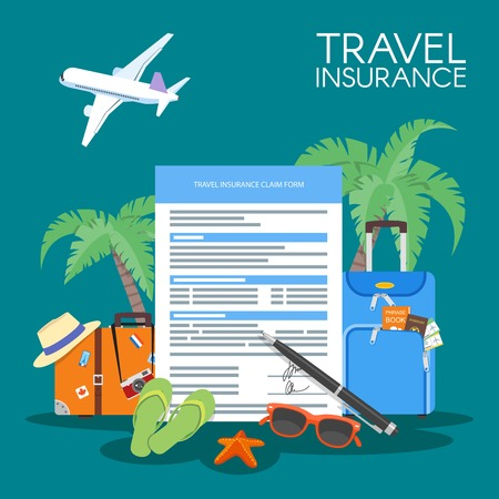 Ubezpieczenie w podróży formą ilustracji wektorowych koncepcji. tło wakacje, bagaż samolot, palmy.