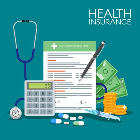 medical symbol: Health insurance form concept vector illustration. Filling medical documents. Stethoscope, syringe.