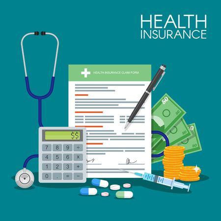 santé: L'assurance maladie sous forme notion d'illustration de vecteur. Remplissage des documents médicaux. Stéthoscope, seringue.