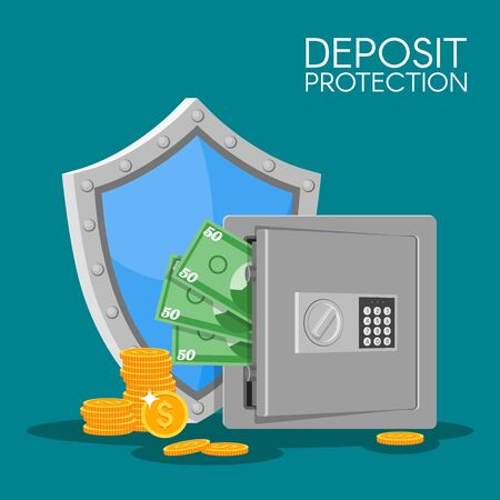 bank deposit: Bank deposit vector illustration in flat style. Save your money concept. Dollar banknotes and coins in safe. Finance security. Deposit money background.