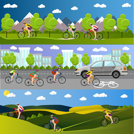 cartoon biker: Group of bicycle riders on bikes in mountains, city road and park. Biking sport concept cartoon banners. Vector illustration in flat style design.