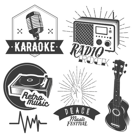 t bar: Vector set of karaoke and music labels in vintage style. Guitar, microphone, gramophone, radio receiver isolated on white background. Design elements, emblems, badges, logo and icons.