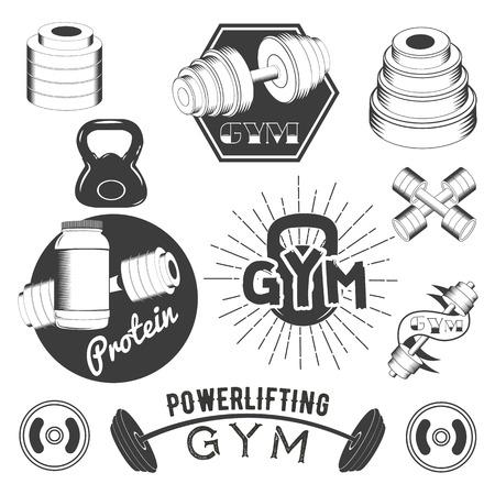 cross bar: Set of gym labels in retro style. Sport and fitness emblems, badges and logos for design. Vector illustration. Isolated elements on white background.