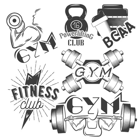 iron cross emblem: Set of gym labels in retro style. Sport and fitness emblems, badges and logos for design. Vector illustration. Illustration