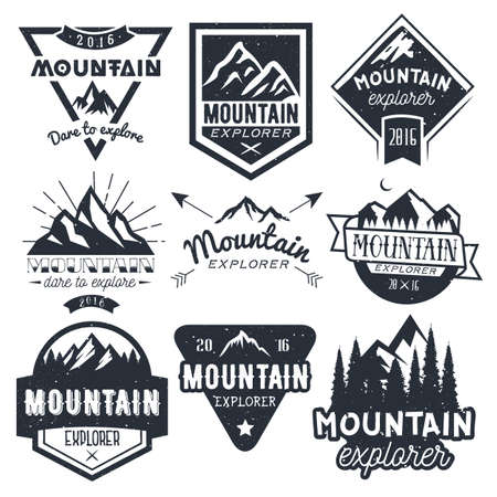 mount: Vector set of mountain labels in vintage style. Design elements, icons, logo, emblems and badges isolated on white background. Outdoor adventure concept illustration. Illustration