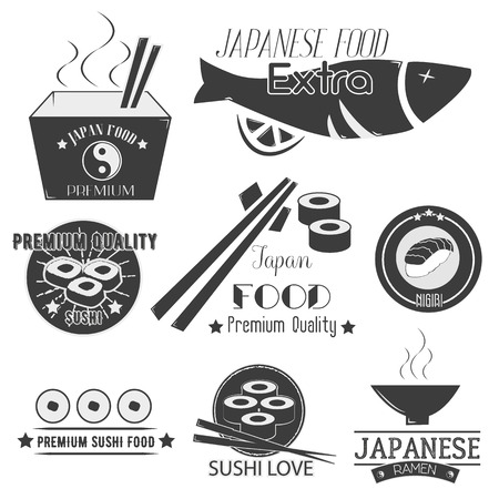 Vector set of sushi labels. Japanese food restaurant logo, badges, emblems, icons and design elements isolated on white background. Asian cuisine illustration.