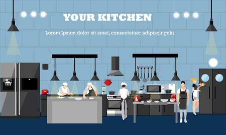 interiors: Vector banner with restaurant interiors. Chefs cooking food in kitchen room. Vector illustration in flat design.