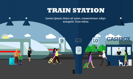 platforms: Mode of Transport concept vector illustration. Railway station banner. Design elements in flat style. City transportation objects, train, platforms, tickets office.