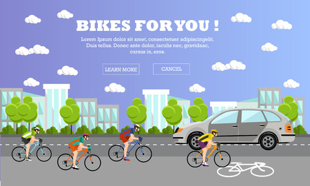 Groep van fietsers op de fiets op de weg. Straat met fiets lijn. Fietsen sport concept cartoon banners. Vector illustratie in vlakke stijl design.